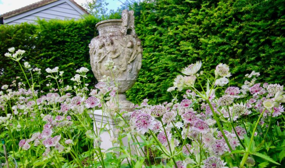 Country House, Berkshire - Flowers Set Among an Ornamental Urn