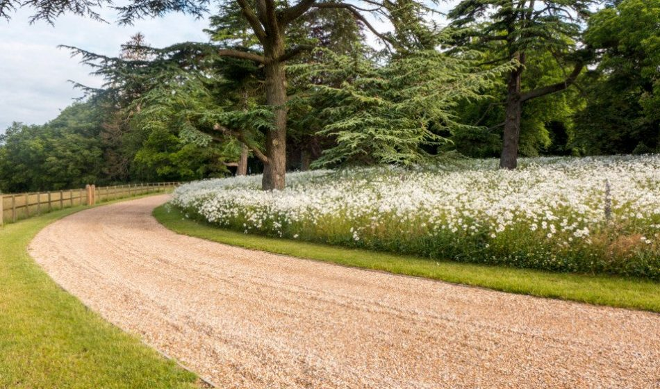 Georgian House, Hampshire Project - Sweeping Driveway with Wildflower Meadow