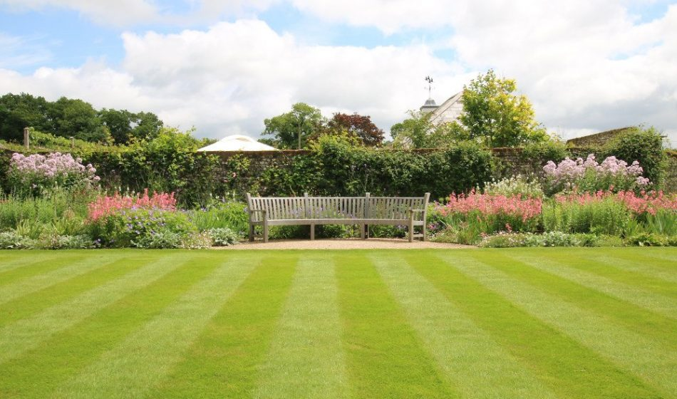 Georgian House, Hampshire Project - Formal Lawn with a Wooden Bench