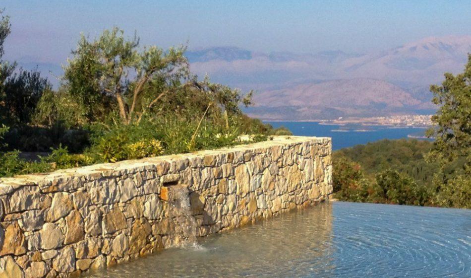 Koukos Country Villa, Corfu - Garden Wall and Infinity Pool