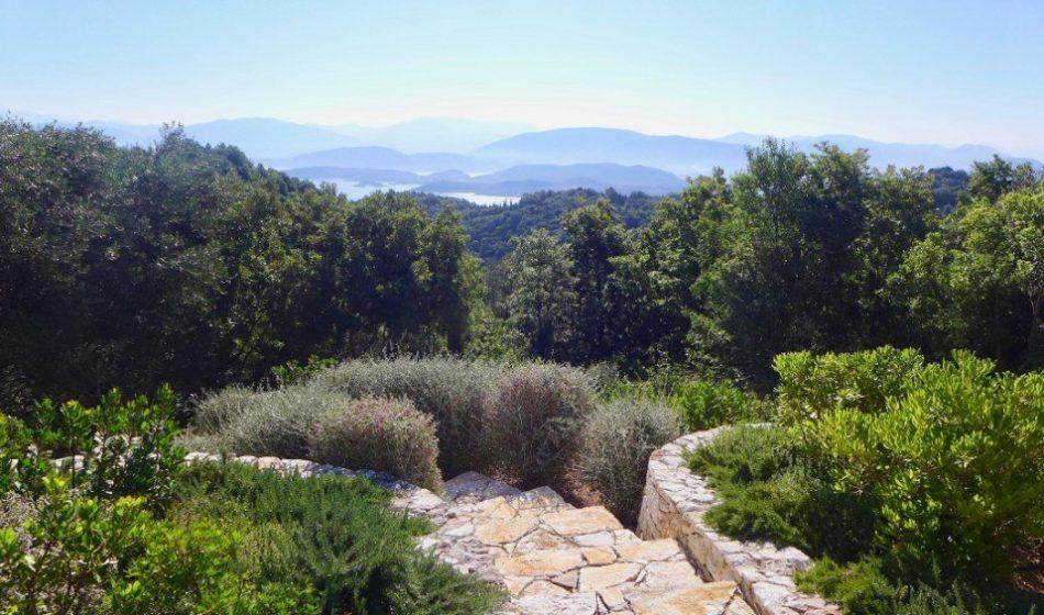 Koukos Country Villa, Corfu - Garden Terraces overlooking trees and islands