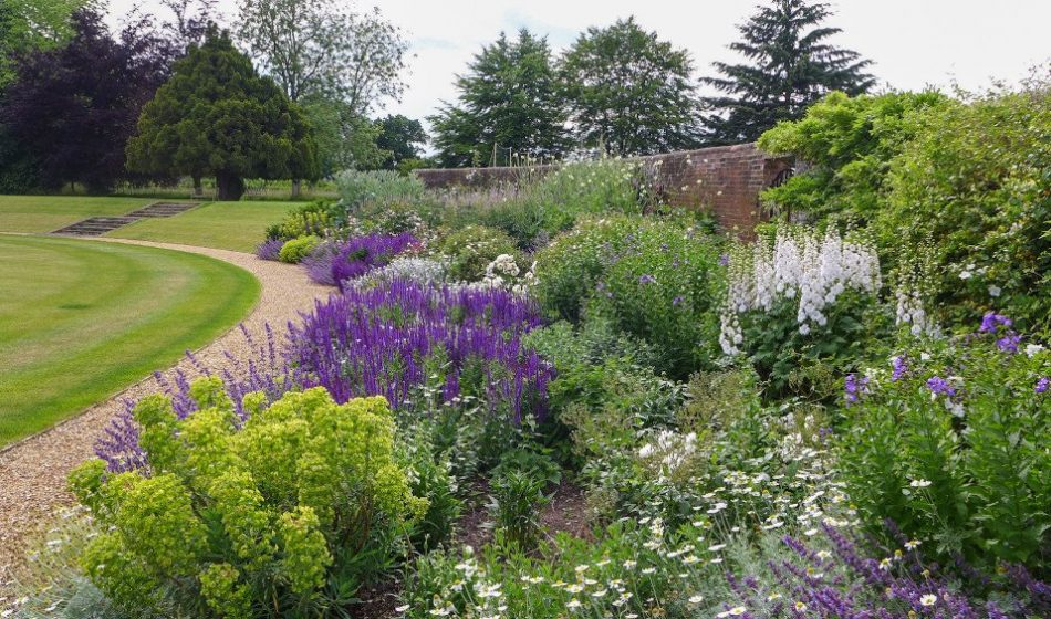 Manor House Hampshire - Floral Borders alongside a Sweeping Path