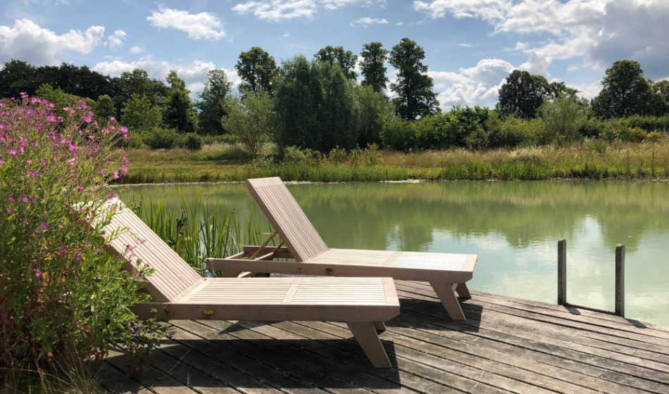 Manor House Hampshire - Wooden Sun Loungers beside a Swimming Lake