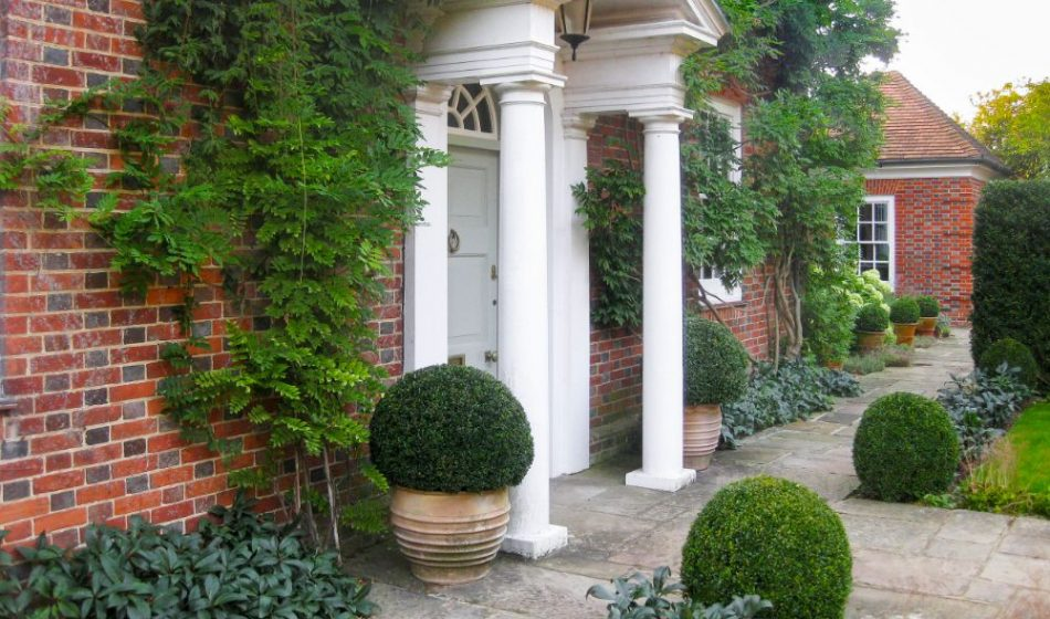 Mill House Surrey - Red Brick House with Stone Column Entranceway