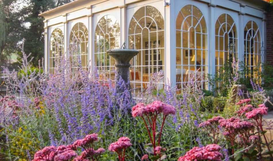 Mill House Surrey - Sedum with Conservatory in Background