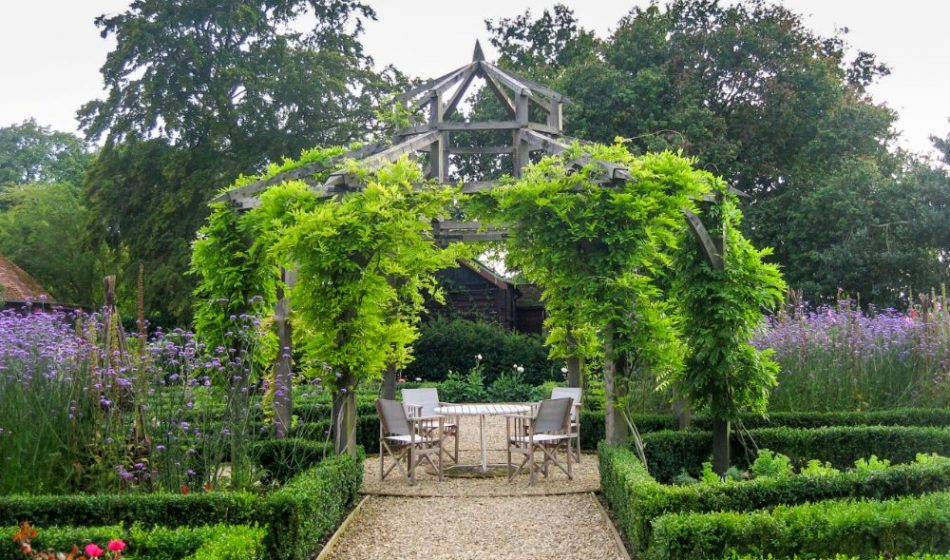 Old Rectory Berkshire - Wooden Gazebo with Seating in a formal garden