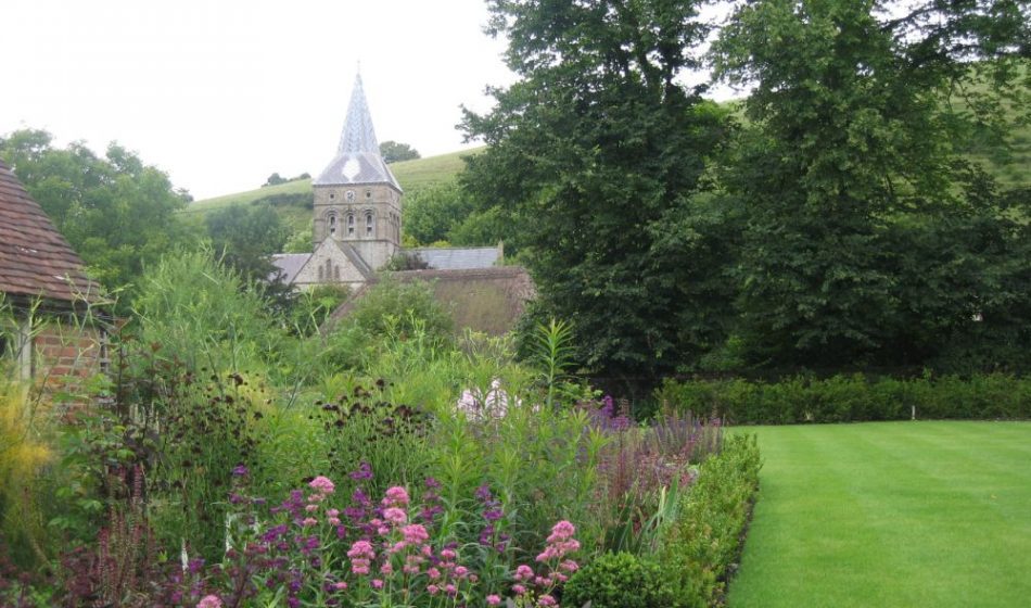 Village House Hampshire - Flower Border with Church View