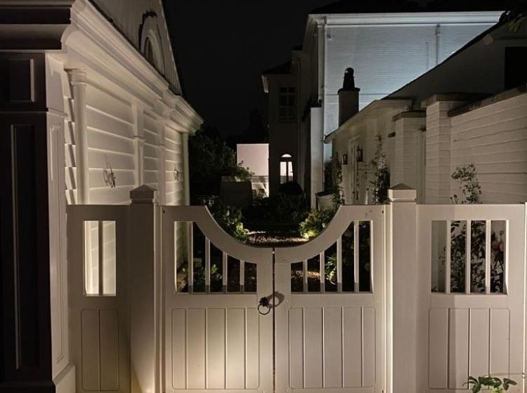 Country House, East Berkshire - White Wooden Gateway at Night