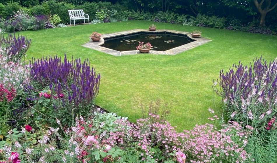 Country House, East Berkshire - Ornamental Pond with Borders