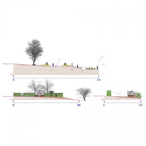 Berkshire Farmhouse Garden Design Level Plan