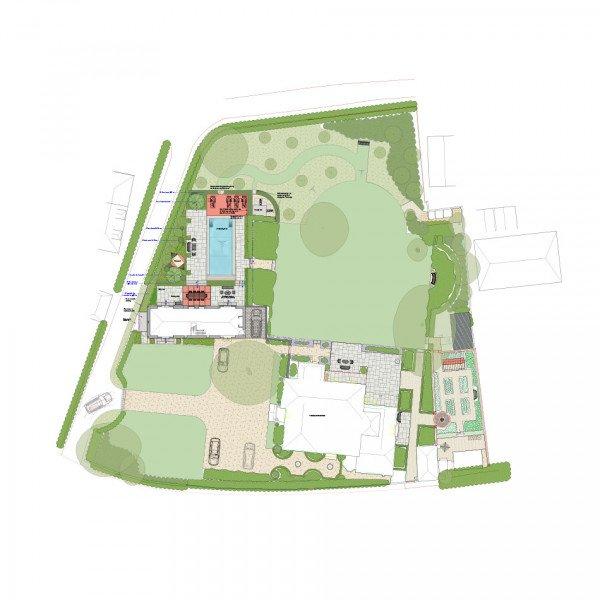 Master Garden Design Plan for Georgian Manor House Hampshire