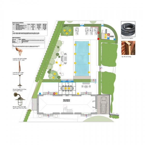 Garden Lighting Plan for Georgian Manor House Hampshire